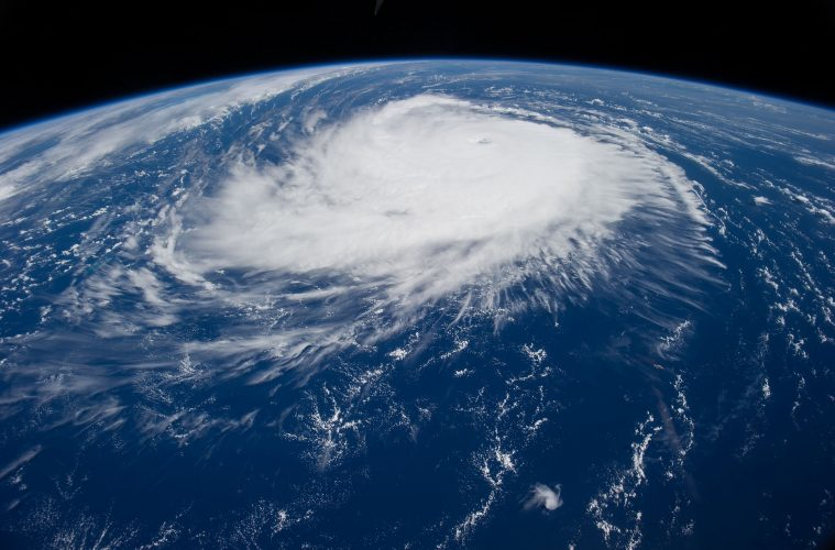 Image of Earth from Space showing a hurricane