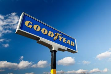 Image of Goodyear signage, illustrating the author's demand planning career
