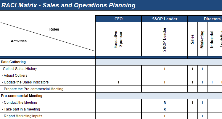 S&OP roles and responsibilities matrix