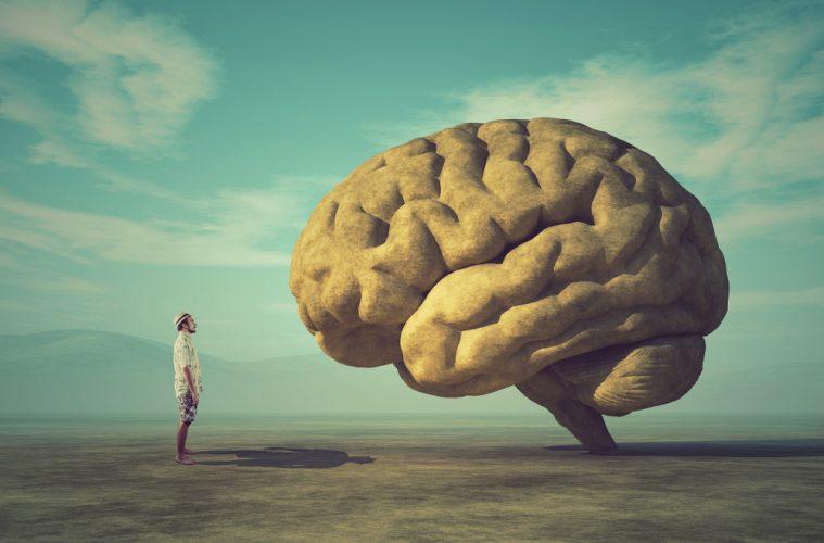 Man looking up at huge brain.