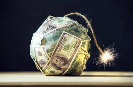 image of bomb made from dollar notes
