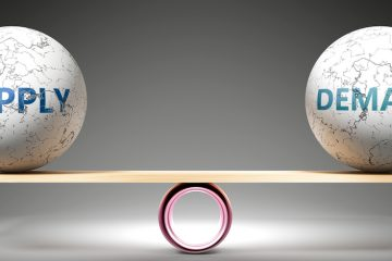Image of supply and demand balancing on seesaw