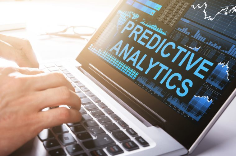 Image of laptop screen with text 'Predictive analytics'