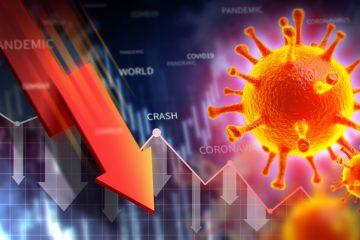 Image of coronavirus and arrow pointing down