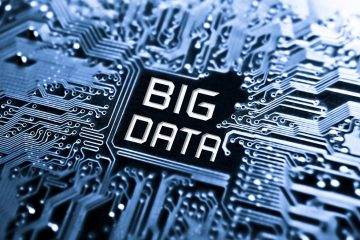Image of circuit board with big data text