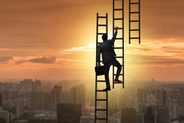 Image of man climbing ladder