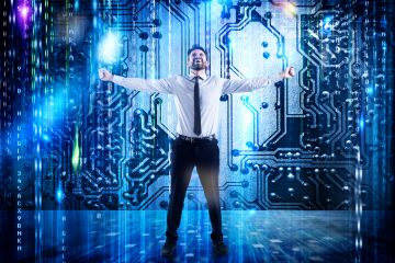 Businessman standing in front of digital computing concept